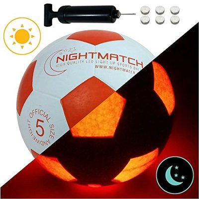 NIGHTMATCH Light Up Football INCL. BALL PUMP and SPARE BATTERIES – Inside LED lights up when kicked – Glow in the Dark Soccer Ball – Size 5 – Official Size & Weight white/orange