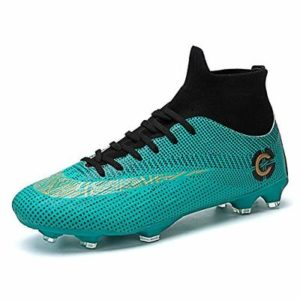 Mens Football Boots Cleats Professional Spikes Soccer Shoes Competition/Training Boy's Sneakers Green, Green, 8 UK