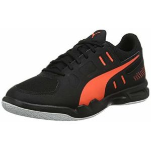 PUMA Men's Auriz Futsal Shoes, Black-Nrgy Red White, 7 UK 40.5 EU