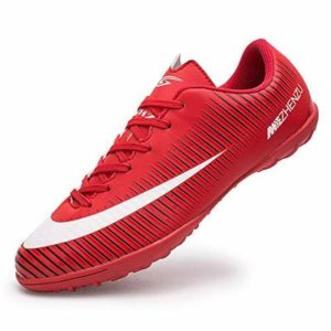 BOTEMAN Mens Football Shoes Breathable Boys Girls Soccer Trainers Cleats Professional Football Boots Unisex Red