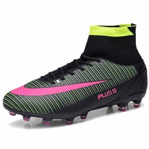 LIANNAO Football Boots Men's Boy's Soccer Shoes High-Top Spikes Football Shoes Outdoor Professional Training Shoes Unisex Teenager Black