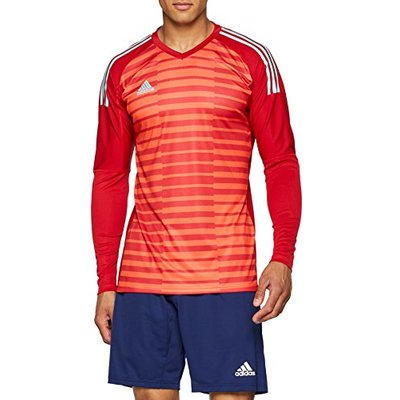 adidas Men's AdiPro 18 Goalkeeper Long Sleeve Tee, Power Red/Semi Solar Red/Energy Aqua, Small