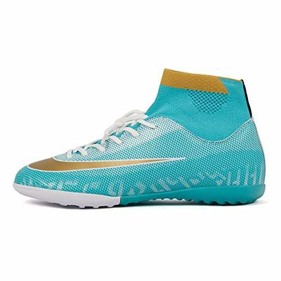 REBEST Football Boots Soccer Shoes Broken Nail Spikes Grass Football Training Shoes Unisex Children's Soccer Shoes Blue