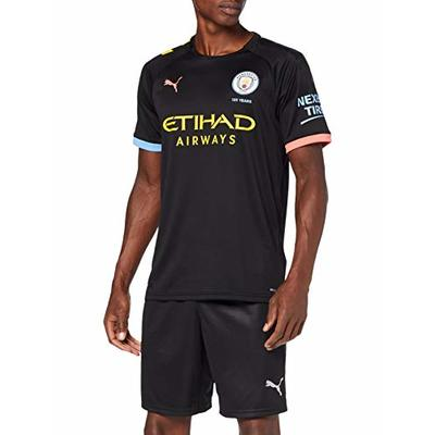 Puma Herren MCFC AWAY Shirt Replica SS wit Trikot, Black-Georgia Peach, L