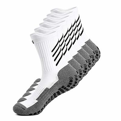 Gogogoal Anti-slip Sport Sock for Men Women Anti Blister Cushion Wicking Breathable Non-slip Aheletic Socks for Football Basketball Baseball Yoga Runing Hiking Trekking, Black/Whtie (White-3pair)