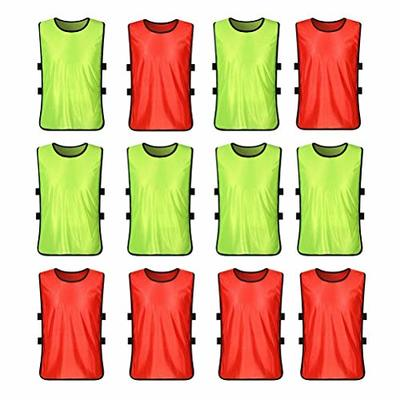 VORCOOL 12Pcs Kids Football Training Bibs Mesh Sleeveless Tank Top Football Soccer Rugby Team Practice Vests – Size S (Fluorescent Green + Red)