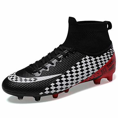 WOWEI Football Boots Men High Top Spike Soccer Shoes Outdoor Training Football Shoes Sneakers,Black,EU38
