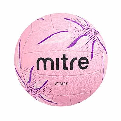 Mitre Attack Training Netball, Pink/Purple/White, Size 4