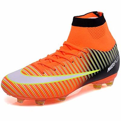 BOLOG Unisex High Top Spikes Soccer Training Cleats Profession Athletics Teenager Outdoor Soccer Shoes, Orange, 5 UK