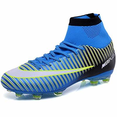 BOLOG Unisex Football High Top Spikes Training Cleats Profession Athletics Teenager Outdoor Soccer Boots, Blue, 2.5 UK