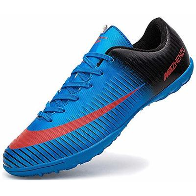 Ikeyo Breathable Football Shoes Men Indoor Outdoor Turf Trainers Teens Wear-Resistence Soccer Shoes Non-Slip Unisex, 6 UK, Blue