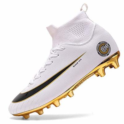 High Top Spikes Trainers Professional Sneakers Competition Shoes Men Football Boots Boy Soccer Athletics Shoes (3.5 UK = EU 36, 8-White-J-AG)
