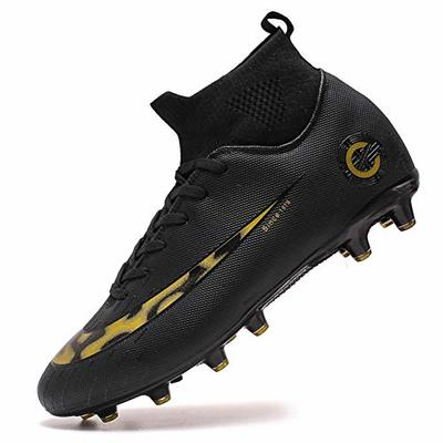 High Top Spikes Trainers Professional Sneakers Competition Shoes Men Football Boots Boy Soccer Athletics Shoes (9.0 UK = EU 43, 8-Black-AG)