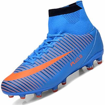 Brfash Men's Football Boots Boy's Soccer Athletics Shoes High Top Spikes Trainers Professional Sneakers Competition Shoes, Blue, 5 UK