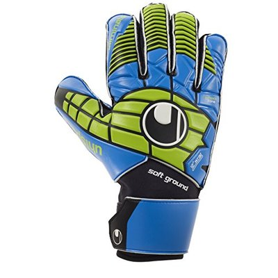 uhlsport Men's ELIMINATOR SOFT PRO Goalkeeper Gloves, Black/Blue/Power Green, 8.0
