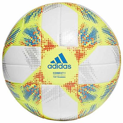 adidas Men's Conext 19 Top Training Ball, Top:White/Solar Yellow/Solar Red/Football Blue Bottom:Silver Metallic, 5