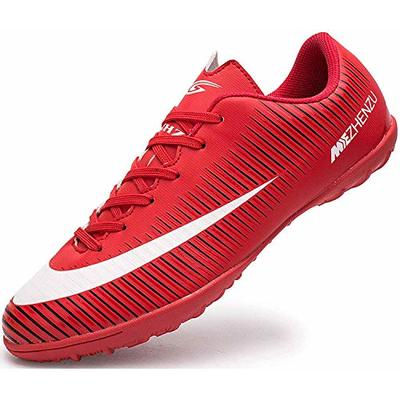 Ikeyo Breathable Football Shoes Men Indoor Outdoor Turf Trainers Teens Wear-Resistence Soccer Shoes Non-Slip Unisex, Red, 5 UK