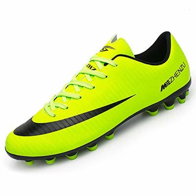 BOTEMAN Mens Football Shoes Breathable Boys Girls Soccer Trainers Cleats Professional Football Boots Unisex Green