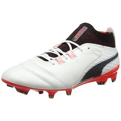 PUMA Men's ONE 17.1 FG Football Boots, White (White-Black-Fiery Coral 01), 10.5 UK