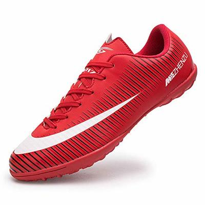 Topoption Football Shoes Men Trainers Boys Junior Rugby Outdoor Sneakers Wear-Resistence Soccer Shoes Unisex Boots, Red, 9 UK