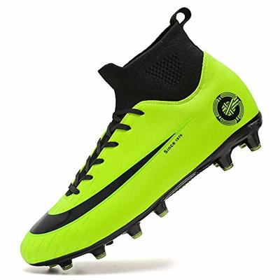 High Top Spikes Trainers Professional Sneakers Competition Shoes Men Football Boots Boy Soccer Athletics Shoes (9.5 UK = EU 44, 8-Green-AG)