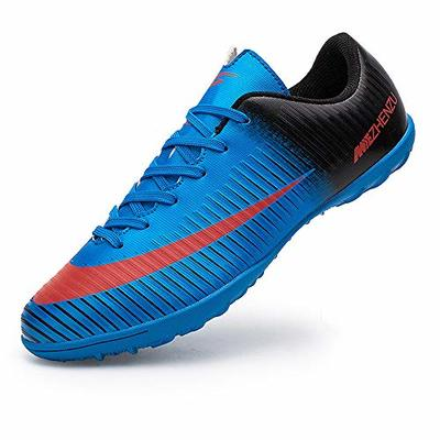 Topoption Football Shoes Men Trainers Boys Junior Rugby Outdoor Sneakers Wear-Resistence Soccer Shoes Unisex Boots, Blue, 9.5 UK