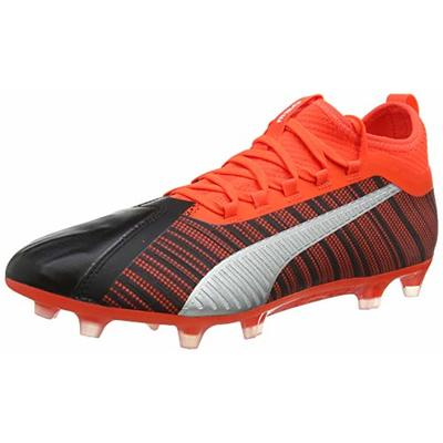 PUMA Men's ONE 5.2 FG Football Boots, Black-Nrgy Red Aged Silver, 10 UK 44.5 EU