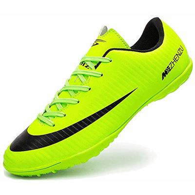 Ikeyo Breathable Football Shoes Men Indoor Outdoor Turf Trainers Teens Wear-Resistence Soccer Shoes Non-Slip Unisex, Green, 3.5 UK