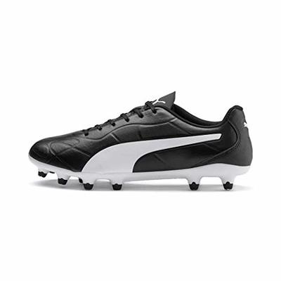 PUMA Men's MONARCH FG Football Boots, Black White, 7.5 UK 41 EU