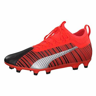 PUMA Men's ONE 5.3 FG Football Boots, Black-Nrgy Red Aged Silver, 9 UK 43 EU