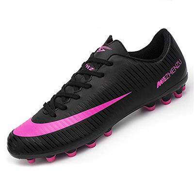 BOTEMAN Unisex Adult Breathable Soccer Trainers Cleats Professional Football Shoes, Black, 10 UK