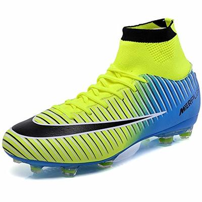 BOLOG Unisex Adult High Top Spikes Soccer Training Cleats Profession Athletics Teenager Football Boots, Green, 2.5 UK