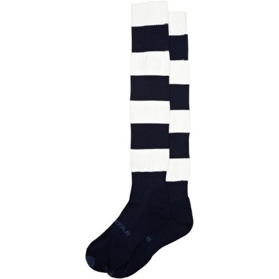 Mitre Mercury Hoop Football Sock – Navy/White, Size 7-12