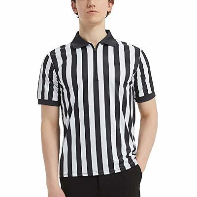 TopTie Sportwear Men's Pro-Style Referee Shirt with Quarter Zipper for Basketball Football Soccer-M Black