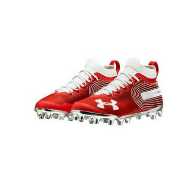 NEW Mens Under Armour Spotlight MC Football/Lacrosse Cleats Red/Silver Sz 14 M