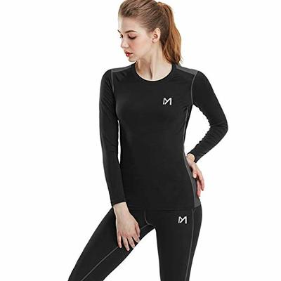 MEETYOO Women's Thermal Underwear Set, Ultra Soft Base Layer for Ladies, Fleece Lined Long Johns Sport Top&Leggings Set for Running Skiing Cycling Workout, Black, M