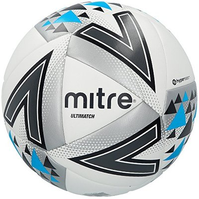 Mitre Unisex Ultimatch Plus Max Match Football, White/Silver/Blue, Size 4