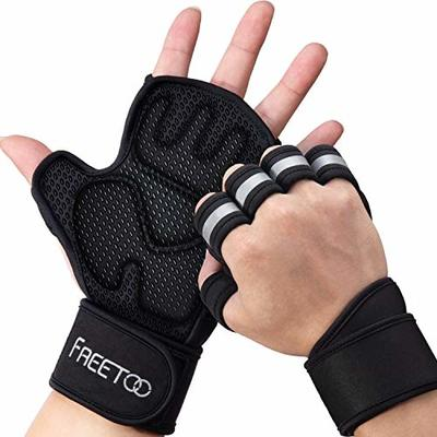FREETOO Gym Gloves Weight Lifting Gloves – with Wrist Wrap Support Full Palm Protection, Open Back Training Gloves Breathable Workout Gloves