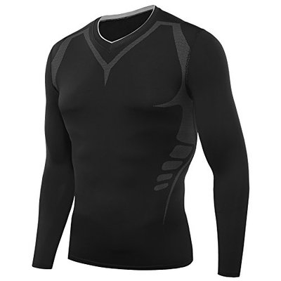 AMZSPORT Men's Long Sleeve Compression Top Cool Dry Tight Baselayer ALL SEASON for Running Training (Black, L)