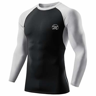 MEETWEE Men's Compression Tops, Long Sleeve Base Layer T-Shirt Cool Dry Running Top Sport Shirts for Fitness Gym Workout