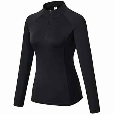 Sillictor 1/4 Half Zip Running Top Women Long Sleeve T Shirts Thermal Ski Base Layer Womens Sports Tops Gym Hiking Cycling Climbing Base Layers Breathable High-wicking Durable Soft Black 92506 M