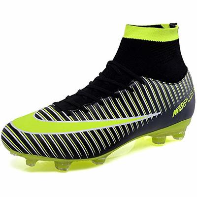 BOLOG Unisex Football High Top Spikes Training Cleats Profession Athletics Teenager Outdoor Soccer Boots, Black, 9.5 UK