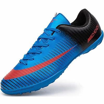 Ikeyo Unisex adult Breathable Indoor Outdoor Turf Trainers Teens Wear-Resistence Soccer Non-Slip Football Shoes, Blue, 8 UK