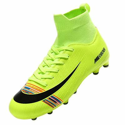 Men's Football Boots Boy's High-Top Sock Spikes Soccer Football Shoes Kids Cleats Outdoor Professional Training Shoes Sports Sneakers Competition Shoes Green 35