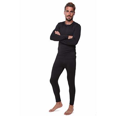 Men Thermal Performance Underwear Set; Base Layer; Midweight Soft Fleece; Warm Long Sleeve Vest and Long Johns Bottoms (LAR, Black)