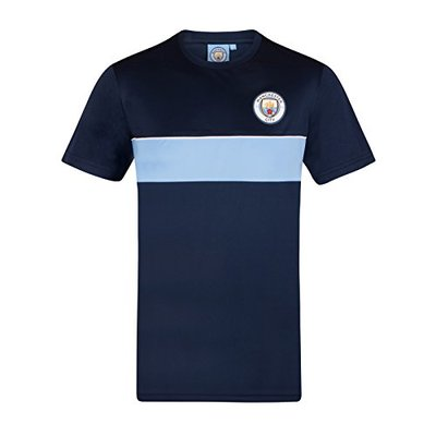 Manchester City FC Official Gift Mens Crest Poly T-Shirt Navy Sky Blue Large