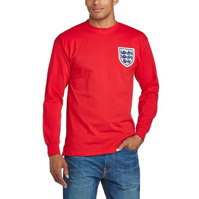 England Men's 1966 World Cup Final No6 Shirt-Red, Large